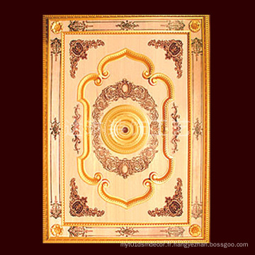 1.4 * 2m Golden Color Classical PS plafond artistique pour la construction
