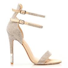 Rhinestone Double Strap Stylish Closed Toe Stilettos Black and Silver High Heels