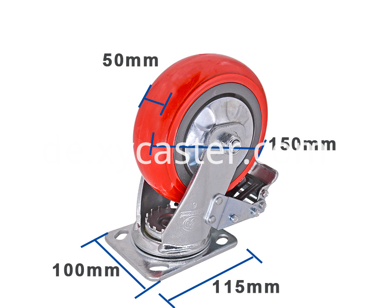 6 Inch Red Pvc Wheel Caster With Brake