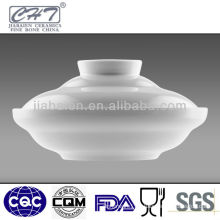 Bone china large microwave ceramic soup bowl with lid
