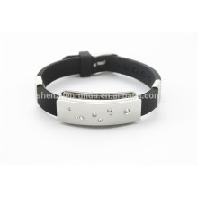fashion jewelry steel with black silicone bracelet bracelet ID bracelet
