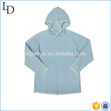 Light blue washed plain slim fit hoodies 100% cotton denim hoodies