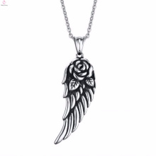 2017 New Hot Sell Cross Feather Stainless Steel Pendant Necklace
