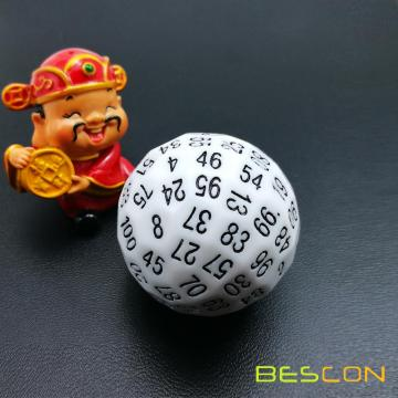Bescon Polyhedral Dice 100 Sides Dice, D100 sterben, 100 Sided Cube, D100 Game Dice, 100-Sided Cube aus weißer Farbe