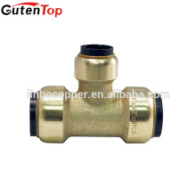GutenTop High Quality Quick Connector Lead Free Brass Push Fit Equal Tee bite type brass fittings