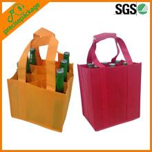 Wiederverwendbare Non Woven Weinflasche Tasche mit 9 Pack