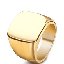 Último nuevo diseño en blanco simple de titanio oro PVD hombres dedo anillo de la joyería
