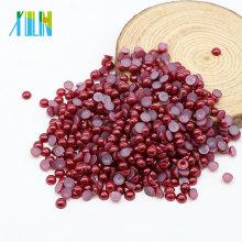Atacado Imitação Artesanato Apartamento de Volta Metade Rodada Pérolas Beads Pérolas para Roupas, Z33-Vermelho Escuro