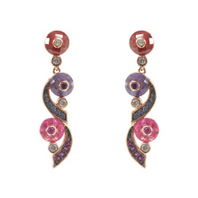 Sterling Silber Multicolor CZ Dangle Drop Ohrringe