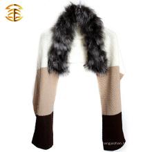 El abrigo auténtico verdadero de la piel del abrigo de la capa del abrigo de la bufanda de la piel de la plata del Knit del 100%