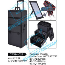 Popular New Design Aluminum Trolley Cosmetic Case with Wheels