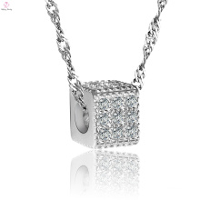925 Sterling Silver Crystal Square Link Chain Necklace