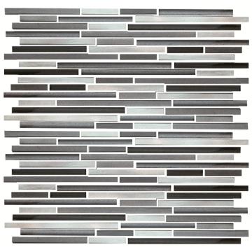 Ladrilhos de mosaico de pedra de vidro em formato de tira de 300 * 300 mm