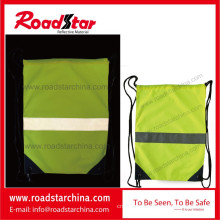 Waterproof reflective drawstring bag for cycling