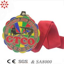 Изготовленный на заказ сплав цинка Материал Золотая медаль с цветами картины