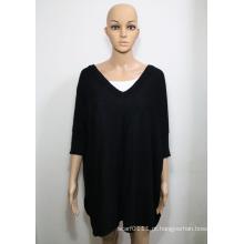 Lady Moda Acrílico Viscose Malha V-Neck Shirt (YKY2019)