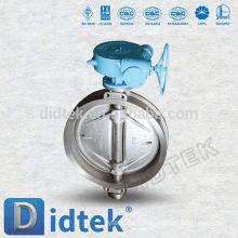 Didtek triple compensación DN80 PN16 Wafer tipo válvula de mariposa