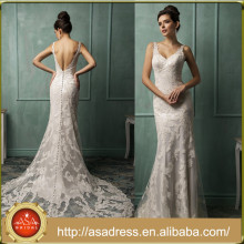 AMS07 Sexy Sleeveless Low Back Bride Lace Gown with Court Train Plus Size Wedding Dress