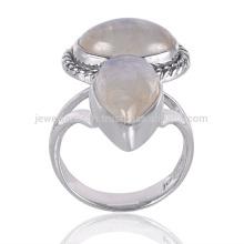 Bijoux à anneaux en argent sterling 925 en pierres précieuses Rainbow Moonstone