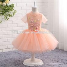 2017 última manga corta 1-14 años y flores decoración preciosa bola vestido de niña de las flores vestidos para bodas