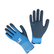 Work Warm Keeping Cashmere Loop Napping Liner Latex Double Coated Thermal Waterproof Gloves with Sandy Finish
