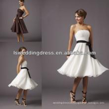 HB2011 Hot sale white with black sash short mini bridesmaid dresss