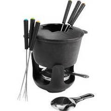Cast Iron Cookware Cheeze Pot with Six Forks