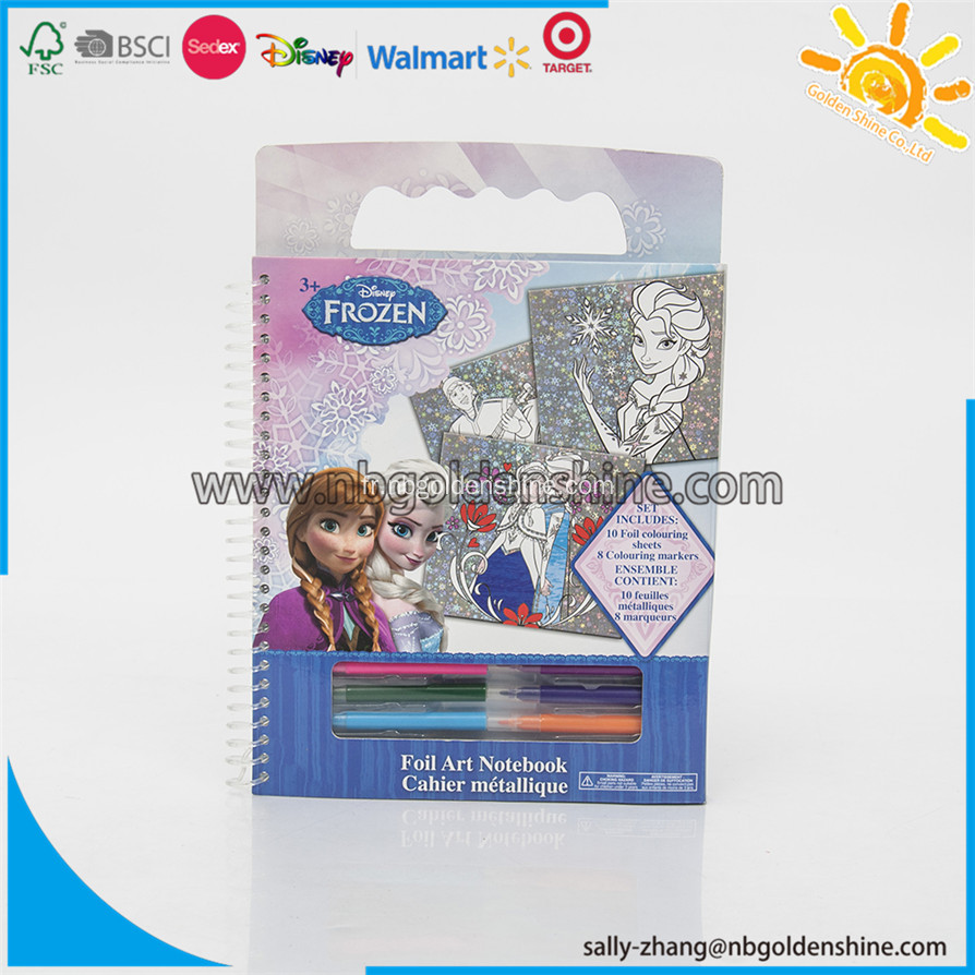 Frozen Foil Art Coloring Drawing Notebook