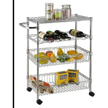 Approved Household Storage Chrome Wire Shelving Trolley (CJ-B1192R)