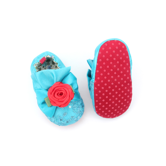 Blue Baby Cotton And Sequins Cute Crib Shoes
