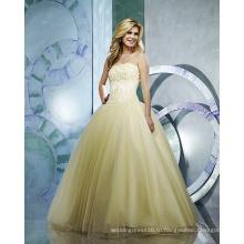 Бальное платье из пряжи без бретелек длиной до пола, с оборками и бисером свадебное платье
