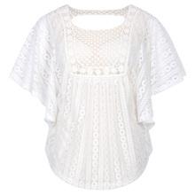 Hanna Nikole Women Plus Size Loose Semi See-Through Batwing Sleeve White Lace Tops HN0020-2