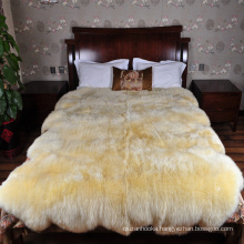 natural white genuine 8p fur rug sheepskin for bed spread