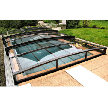 Moderne designglas Sunroom til swimmingpool tag