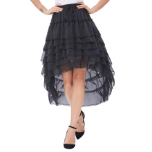 Belle Poque Women Ladies Amelia Steampunk Elastic Waist Ruffled Chiffon Black Color Cake Skirt BP000227-1