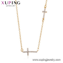 44490 xuping moda al por mayor 18 k oro color religión doble cruz collar para mujer