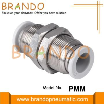 3/8 `` 1/2 '' Bulkhead Union Push-In Pneumatic Hose Fitting