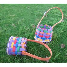 Cesta de flores DIY de la historieta de Eva, bolsa de regalo de niños hecha a mano, niño formación educativa 3D rompecabezas juguetes pegatina