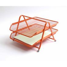 Bandeja de archivos organizador de escritorio de malla metálica de alambre naranja