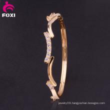 Wholesale Lucky Gold Gemstones Bracelet Synthetic Diamond Bangle