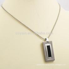 Filling Black Enamel Rectangle Stainless Steel Pendant Necklace Man