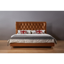 High Head Board Leather Bed, Modern Bed (B003)
