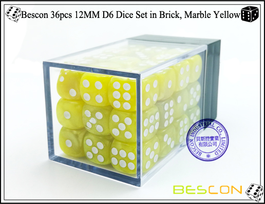 Bescon 36pcs 12MM D6 Dice Set in Brick, Marble Yellow-2