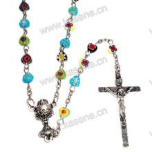Gemischte Farben Edelstein Herz Perlen Religiöse Rosenkranz Halskette