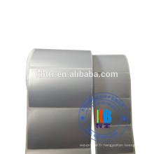 Etiquette synthétique imprimée Etiquette PET en polyester argenté mat