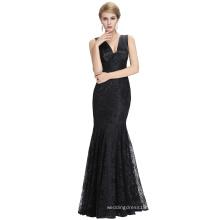 Starzz 2016 New Sleeveless V neck V Back Elegant Black Lace Long Mermaid Evening Dress ST000084-1