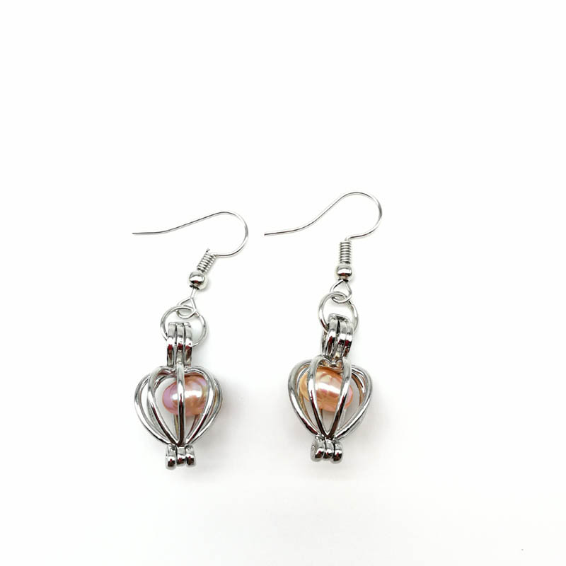 Pearl Beads Locket Pendant Earrings