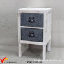 Solid Wood Handmade Wood 2 Zinc Drawer Small Cabinet
