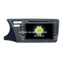 Quad core! Android 6.0 dvd de voiture pour la ville 2014 (version du Brésil avec l'écran capacitif de 8 pouces / GPS / lien de miroir / DVR / TPMS / OBD2 / WIFI / 4G
