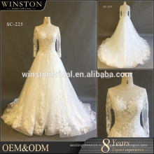 2017 длинным рукавом кружева аппликация свадебное платье с длинным шлейфом свадебное платье
